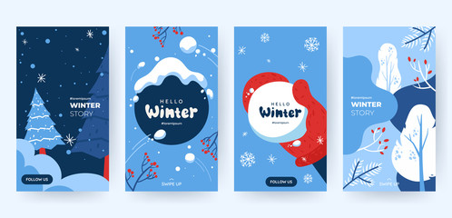 Set of abstract winter backgrounds for social media stories. Colorful winter banners with falling snowflakes, snowy trees. Wintry scenes . Use for event invitation, discount voucher, ad. Vector eps 10 Fotomurales