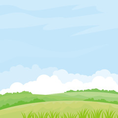 Foto op Plexiglas Lichtblauw Nature landscape vector illustration. Field vector illustration with green grass and some plant