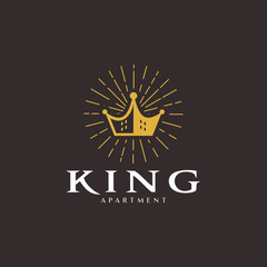 Crown and Apartment for Real Estate or Home Loan Business logo design