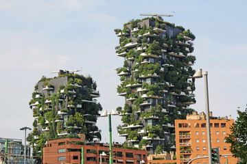 Residential buildings Bosco Verticale. Vertical Forest residential towers in the business district of Milan