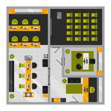 Modern office interior top view vector illustration