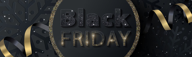 Black Friday Sale banner or flyer design with sparkling black and gold inscription on a textured background with a pattern of black snowflakes. Winter holidays design template for social, fashion ads