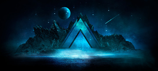 Spoed Fotobehang Nachtblauw Futuristic night landscape with abstract landscape and island, moonlight, shine. Dark natural scene with reflection of light in the water, neon blue light. Dark neon circle background. 3D illustration