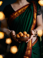 Besan Laddoo Indian sweets on Diwali night