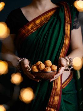 Besan Laddoo Indian sweets on Diwali night