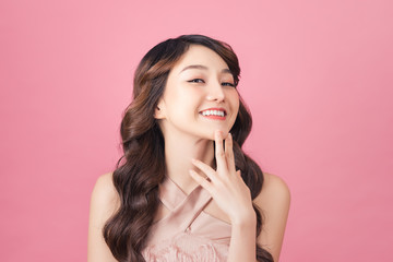 Close-up photo portrait of nice sweet lovely dream dreamy with whit teeth smile