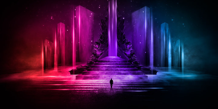 Abstraction, futuristic city of concrete and neon. Night city view, stairs up, illumination. Dark street, abstract scene, neon rays. 3D illustration