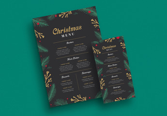 Christmas Themed Menu Layout