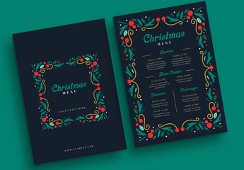 Navy Christmas Themed Menu Layout