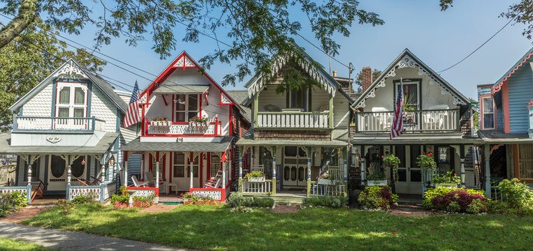Carpenter Gothic Cottages with Victorian style, gingerbread trim in Wesleyan Grove, town of Oak Bluffs on Martha's Vineyard, Massachusetts