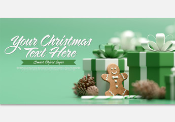 Christmas Scene Mockup with Ginger Biscuit