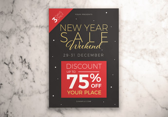 New Year Sale Weekend Flyer Layout with Illustrative Elements