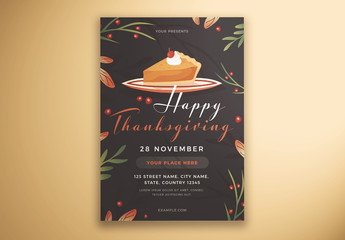 Happy Thanksgiving Flyer Layout with Cake and Leaves