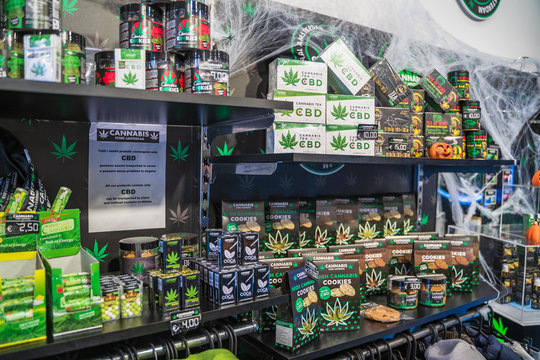 Rome, Italy - October 2019 : Cannabis shop or store in center of Rome for selling legal marijuana products from CBD