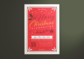 Christmas Celebration Flyer Layout with Santa and Reindeer