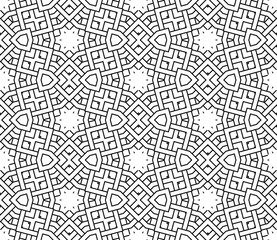 Thin line geometric seamless pattern with different shapes. Striped, checkered card. Ornamental background. Wrapping paper. Vector illustration.