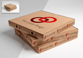 Stacked Pizza Boxes Mockup