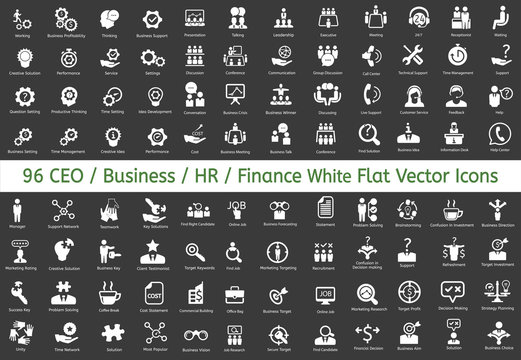 96 Ceo, HR, Business, Finance icons. Vector flat white icons.