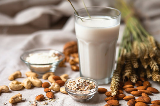 Fresh vegan alternative milk in big glass. Closeup, white background. Healthy vegetarian food concept. Almond, cachou, walnut, oatmeal, coconut to illustrate raw ingredients. Copy space for text