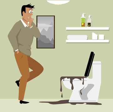 Horrified homeowner looking at a clogged toilet in his bathroom, EPS 8 vector illustration