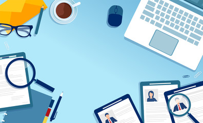 Vector of a top view workplace of a recruitment agency searching for a candidat