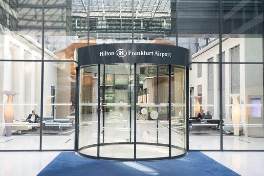 FRANKFURT , GERMANY- APRIL 24: View of Hilton Frankfurt Airport Hotel