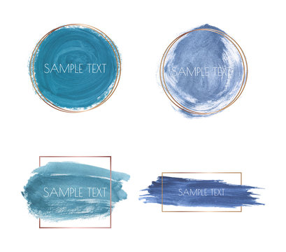 Blue brush stroke watercolor texture with gold polygonal frames. Geometric shape with watercolor washes. Trendy templates for banner, flyer, poster, save the date, greeting, wedding invitation
