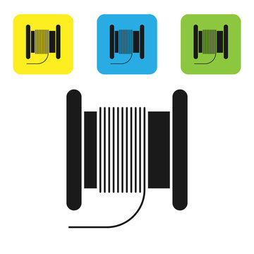 Black Wire electric cable on a reel or drum icon isolated on white background. Set icons colorful square buttons. Vector Illustration