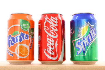 WARSAW, POLAND - MAY 20: Fanta, Coca-Cola and Sprite drinks on May 20, 2011 in Warsaw. The drinks are flag products of Coca Cola Company which had US$10.154 billion operating income (2011).