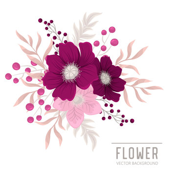Background flower - pink  and purple isolated flowers