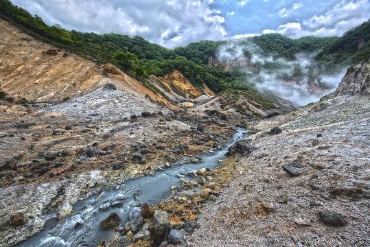 HDR of Hell's Valley hot spring, Noboribetsu, Hokkaido