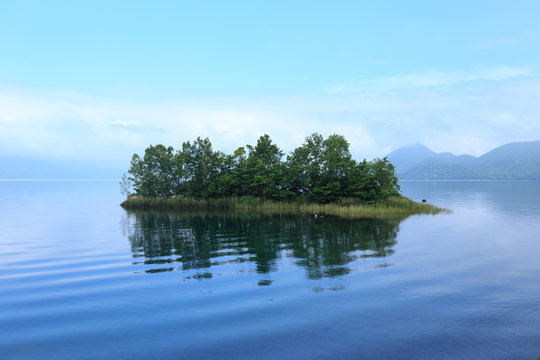 Small Island in Lake Toya, Hokkaido, Japan