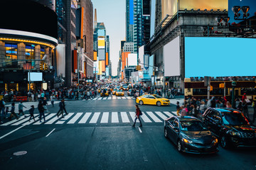 Foto auf Leinwand New York Famous Times Square landmark in New York downtown with mock up billboards for advertising and commercial information content. Big metropolis urban scene with development infrastructure with Lighboxes