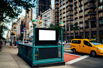 New York City Subway entrance with Clear empty billboard with copy space area for advertising text message or content, public metro transportation information board, promotional mock up on city street Fototapete