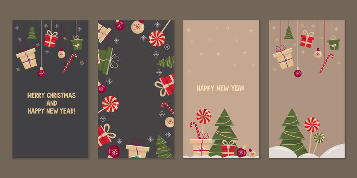Set of christmas and new year backgrounds for social media stories. Colorful banners with new year elements. Use for event invitation, discount voucher, advertising, greeting card.