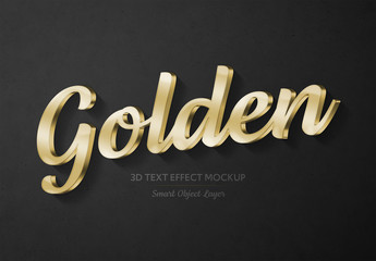 Gold 3D Text Effect Mockup
