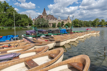 Budapest Vajdahunyad Castle and jetty with rowing boats