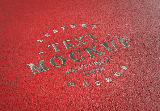 Embossed Silver Text Effect on Red Leather Mockup