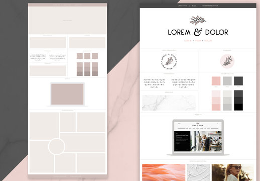 Creative Brand Board Layout with Laptop