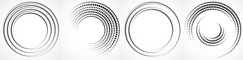 Vector set of halftone dotted background in circle form. Circle dots isolated on the white background