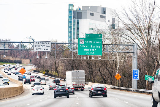 Silver Spring, USA - April 1, 2018: Highway by Washington DC in Maryland on capital beltway loop, sign for exit to Wheaton