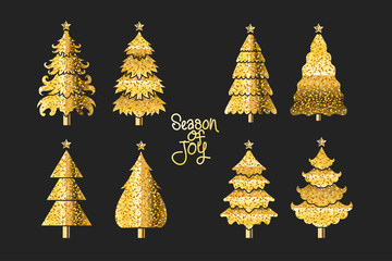 Gold Christmas tree set