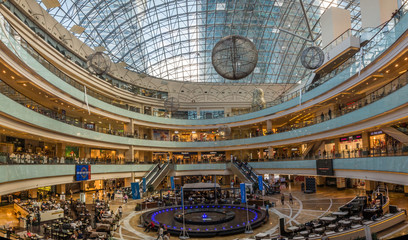 Shopping center AfiMall City is located in business center Moscow City. Moscow, Russia