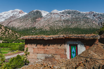 Traditional adobe house in the Aït Bouguemez valley in Morocco