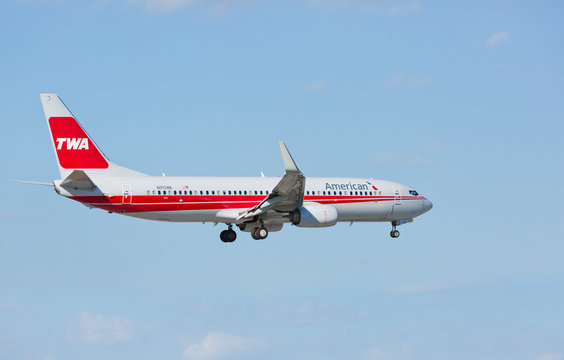 MIAMI, USA - February 17, 2017: A 737 American Airlines painted with a retro livery of Trans World Airlines (TWA) landing at the Miami International Airport.