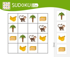 Sudoku game for children with pictures. Kids activity sheet.   Cartoon frog.