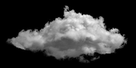 White cloud isolated on black background ,Textured smoke ,brush effect Wall mural