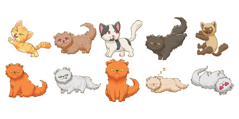 cat kitten baby funny character vector set graphic clipart design