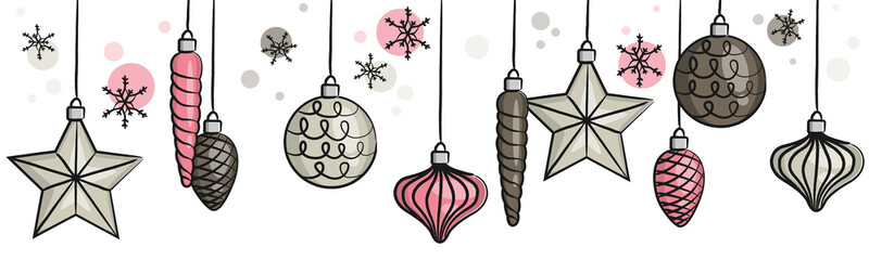 Wall Mural - Hand drawn hanging christmas baubles balls seamless pattern isolated