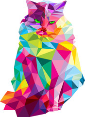 low poly colorful vector cat illustration